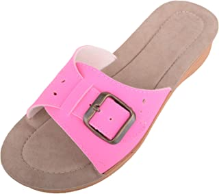 ABSOLUTE FOOTWEAR Womens Light Weight Slip On Summer/Holiday Wedge Sandals/Mule/Shoes