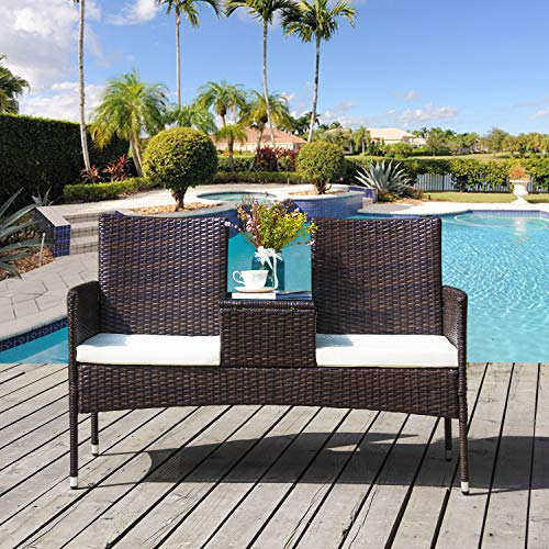 2-Seater Garden Rattan Chair Campanion Chair with Tempered Glass Coffee Table Removable Cushions Outdoor Wicker Loveseat | Garden Furniture Set with Waterproof PE Wicker Durable Steel Frame