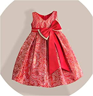 Big Bow Girls Dress for New Year Gold Bronzing Knee-Length V-Neck Kids Party Dresses