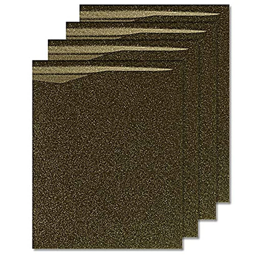 MiPremium Glitter Black Gold Heat Transfer Vinyl, Glitter Iron On Vinyl (Pack of 4 Sheets), for T Shirts Sports Clothing Other Garments & Fabrics, Easy to Cut & Press Glitter Vinyl (Black Gold)