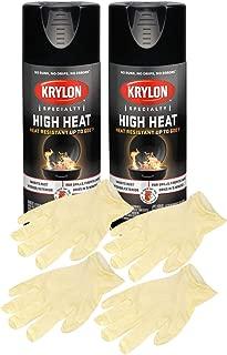 Krylon 1618 High Heat Satin Black Paint (12 oz) Bundle with Latex Gloves (6 Items)