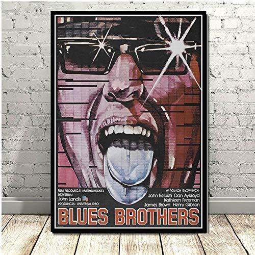Flduod Vintage Blue Brothers Poster Print Film TV-Serie Klassische Leinwand Ölgemälde Kunst Wandbilder für Wohnzimmer Home Decor-No Frame 60x90cm