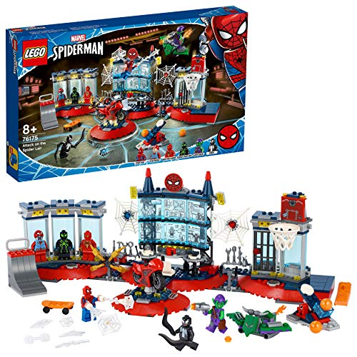 LEGO 76175 Marvel Spider-Man Ataque a la Guarida Arácnida, Playset con Superhéroes Spider-Man, Duende Verde y Venom