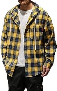 [Senneak] メンズチェック長袖シャツカジュアルビッグサイズ帽子シャツM-5 XL