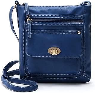 Ecokaki(TM) Women's Genuine Leather Multi-Pocket Crossbody Bag Shoulder Bag Messenger Handbag Purse, Blue