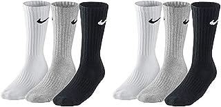 SX4508 - 6 pares de calcetines para hombre y mujer, blanco o negro o gris Blanco, gris, negro. Aprox.134 cm