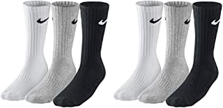 NIKE, SX4508 - 6 pares de calcetines para hombre y mujer, blanco o negro o gris Blanco, gris, negro. Aprox.134 cm