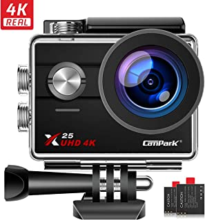 Campark X25 Native 4K Action Camera Ultra HD WiFi Underwater Waterproof Camera 170° Wide Angle with 2 Rechargeable Batteries and Mounting Accessories Kit
