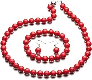 Fashion Style Pearl Elastic Necklace Bracelet Dangle Earring Set(09000649)