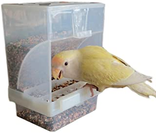 Hypeety Automatic Bird Feeder No Mess Pet Feeder Seed Food Container Perch Cage Accessories for Budgerigar Canary Cockatie...