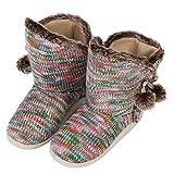 Zapatillas de mujer de punto para casa o oficina, invierno, cálidas, forro de lana térmica, botas interiores y exteriores con pompones de bola, suave y antideslizante, regalo de cumpleaños