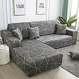WXQY Funda de sofá de Esquina con patrón de Lino, Utilizada para la Funda del sofá de la Sala de Estar, sofá elástico con Todo Incluido, sillón Chaise Longue A21 de 4 plazas