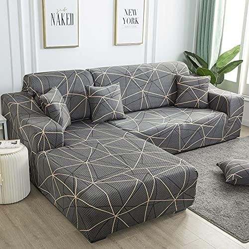 WXQY Funda de sofá de Esquina con patrón de Lino, Utilizada para la Funda de sofá de la Sala de Estar, sofá elástico con Todo Incluido, sillón Chaise Longue A21 de 1 Plaza