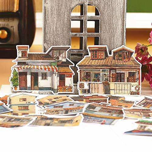 PMSMT 15 Piezas Creativas Lindas Pegatinas de Scrapbooking de casa Retro Hechas a Mano Kawaii/Pegatina Decorativa/álbumes de Fotos artesanales de Bricolaje