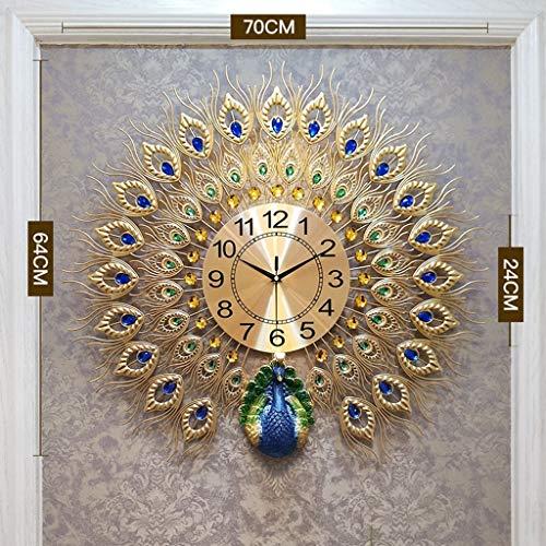 LANGSHI Peacock Wanduhr Kristalldekoration Große Uhr,Gold,70cm*64cm