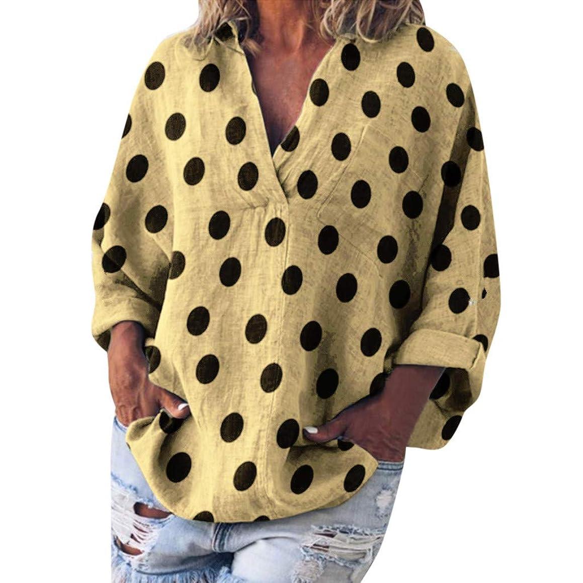 Eaktool Womens Tops,Women Casual Dot Print Long Sleeve V-Neck Loose Shirt Pocket Blouse Tops