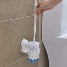 GETKO WITH DEVICE Plastic Wall Mounted Bathroom Toilet Brush Holder with Cleaning Tools (White)