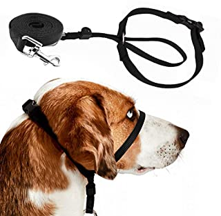 Barkless Dog Head Collar, Adjustable and Padded, No-Pull Training Tool for Dogs on Walks, Includes 1 Dog Leash and Free Training Guide, 3
