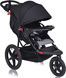 Costzon Baby Jogger Stroller, All Terrain Lightweight Fitness Jogging Stroller w/Parental Cup Phone Holder, Free Tractive Webbing, Large Storage Basket (Deluxe Black)