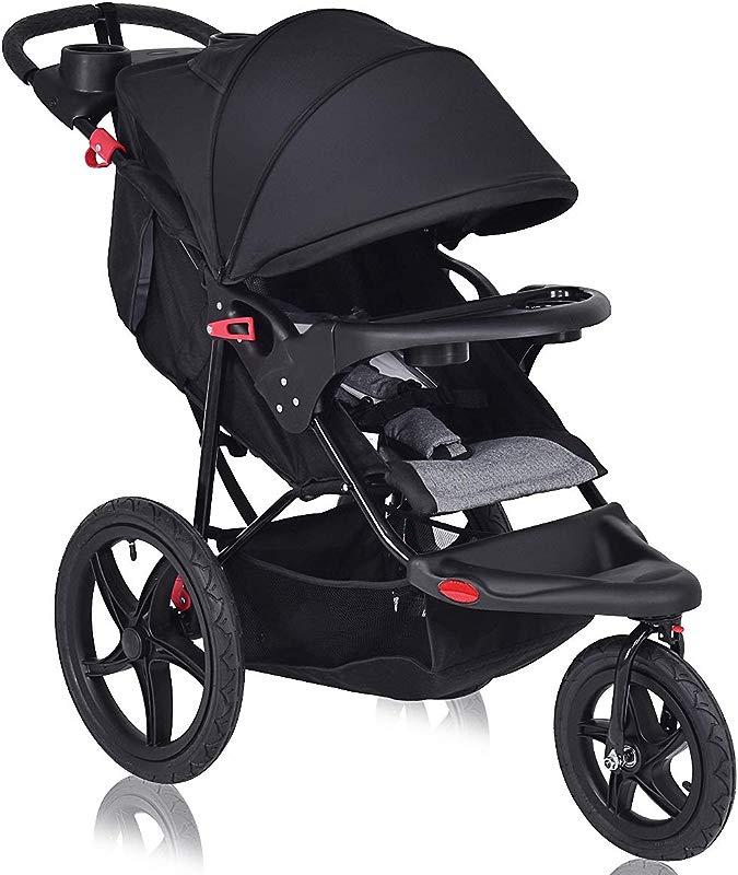 Costzon Baby Jogger Stroller All Terrain Lightweight Fitness Jogging Stroller W Parental Cup Phone Holder Free Tractive Webbing Large Storage Basket Deluxe Black