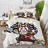 ropa de cama: juego de funda nórdica, decoración de máscara Kabuki, figura de Ronin de aspecto aterrador con arma, mitología exótica del samurai, juego de funda nórdica de microfibra hipoalergénica co