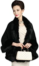 Elfjoy Luxury Bridal Faux Fur Cashmere Wool Shawl Cloak Cape Wedding Dress Party Coat for Winter