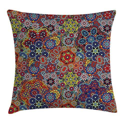 MZZhuBao Funda de almohada batik con diseño de cachemira oriental y femenina oriental, estilo batik de 18 x 18 pulgadas, multicolor