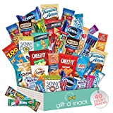 Snack Box Variety Pack (40 Count) Candy Gift Basket - College Student Care Package, Prime Food Arrangement Chips, Cookies, Bars - Ultimate Birthday Treat for Women, Men, Adults, Teens, Kids