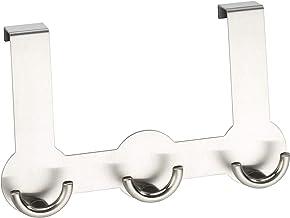 WENKO Rondo deurgarderobe - 3 haken, voor deurvouwen van 2 cm, roestvrij staal, 22,5 x 14 x 4,5 cm, mat