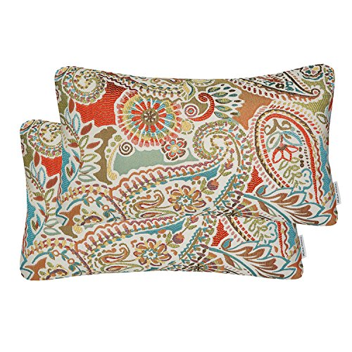 Mika Home Pack of 2 Oblong Rectangular Throw Pillow Cover Cushion Cases for Sofa Couch Chair,Paisley Pattern,12x20 Inches,Red Teal Cream Multicolor