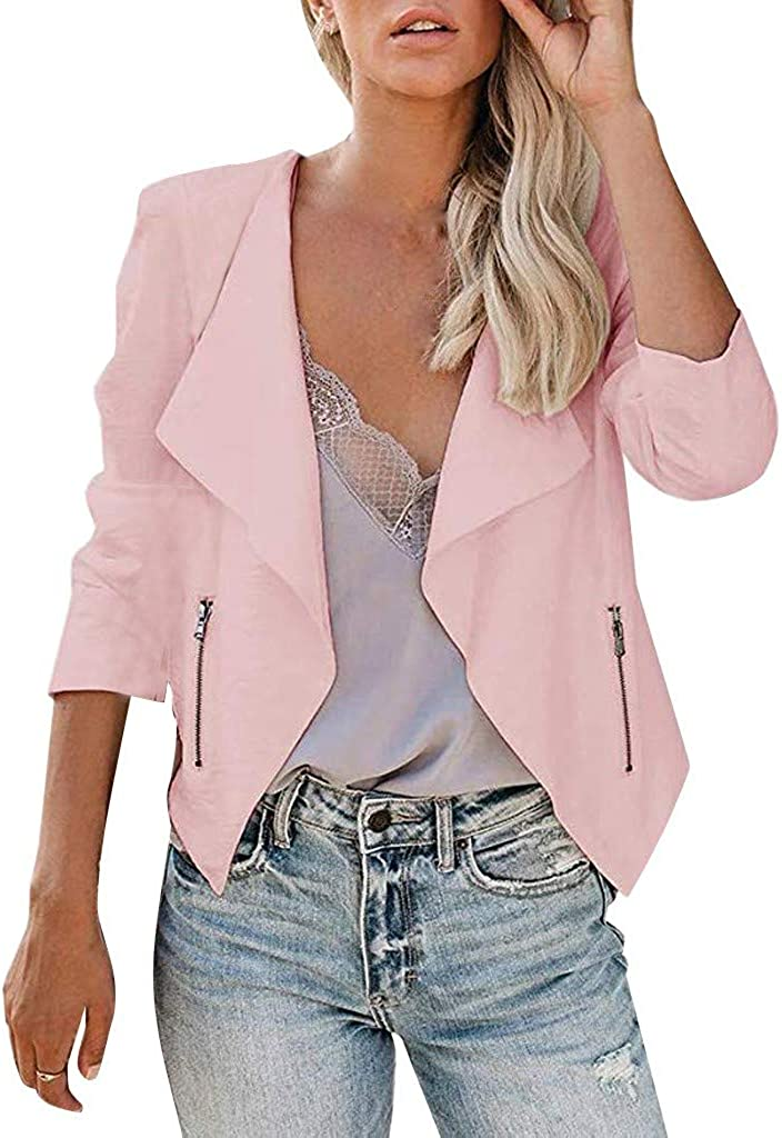 UOFOCO Blazer for Women Casual Long Sleeve Open Front Zipper Slim Lapel Office Coat Jacket
