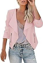Sanyyanlsy Women's Fashion Blazer Jacket Zipper Long Sleeve Open Front Cardigan Slim Lapel Office Short Coat Tops Shirt