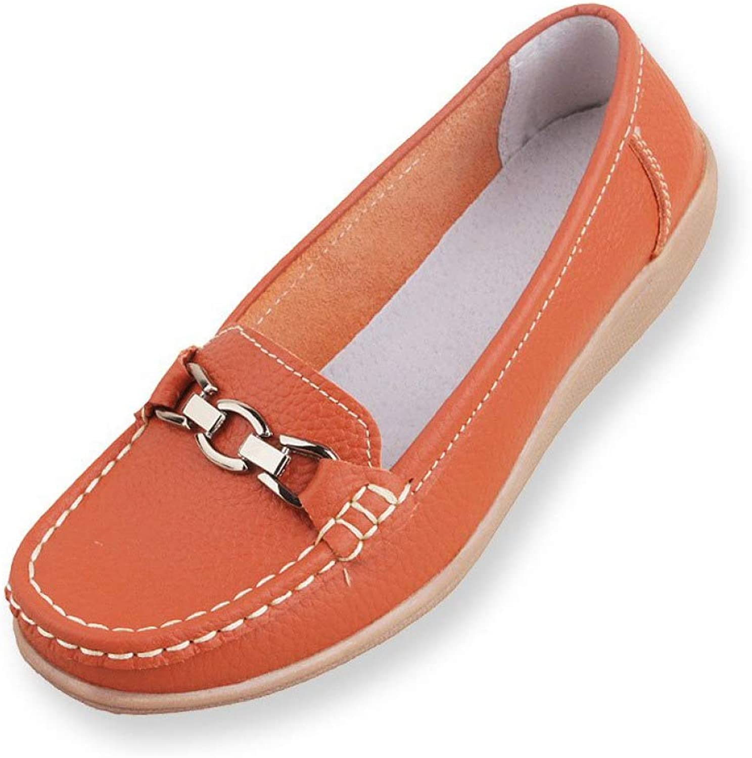 DETAIWIN Women Casual Flat Driving shoes Comfortable Metal Buckle Non Slip Faux Leather Round Toe Walking Loafers