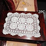 Damanni 16 Inch by 19 Inch Rectangular Cotton Handmade Crochet Lace Table Runner Doilies for Coffee Table Dresser Scarf Dcor2PC/Set (16x19 Inch, White)