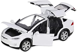 1:32 Scale X Model, FUBARBAR Tesila Model X90 Diecast Car Toys for Kids, Pull Back Alloy Collectible Vehicle Toy Door Opening with Lights and Music, Birthday Gift for Boys Toddlers (6