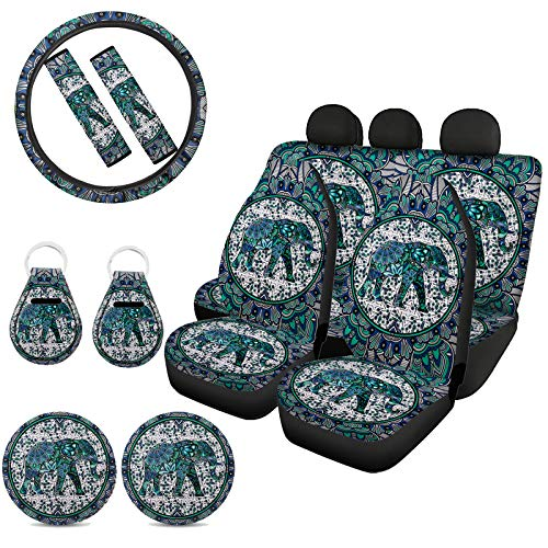 Xhuibop Elephant Car Seat Covers Full Set 11 Pack Green Steering Wheel Cover Boho Seat Belt Pads for Adults Vehicle Coasters Cup Holder Car Keys Keychain Accessories Women