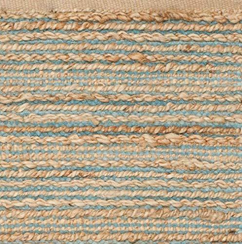 GAURI KOHLI - Alfombra de yute trenzada a mano, color azul turco