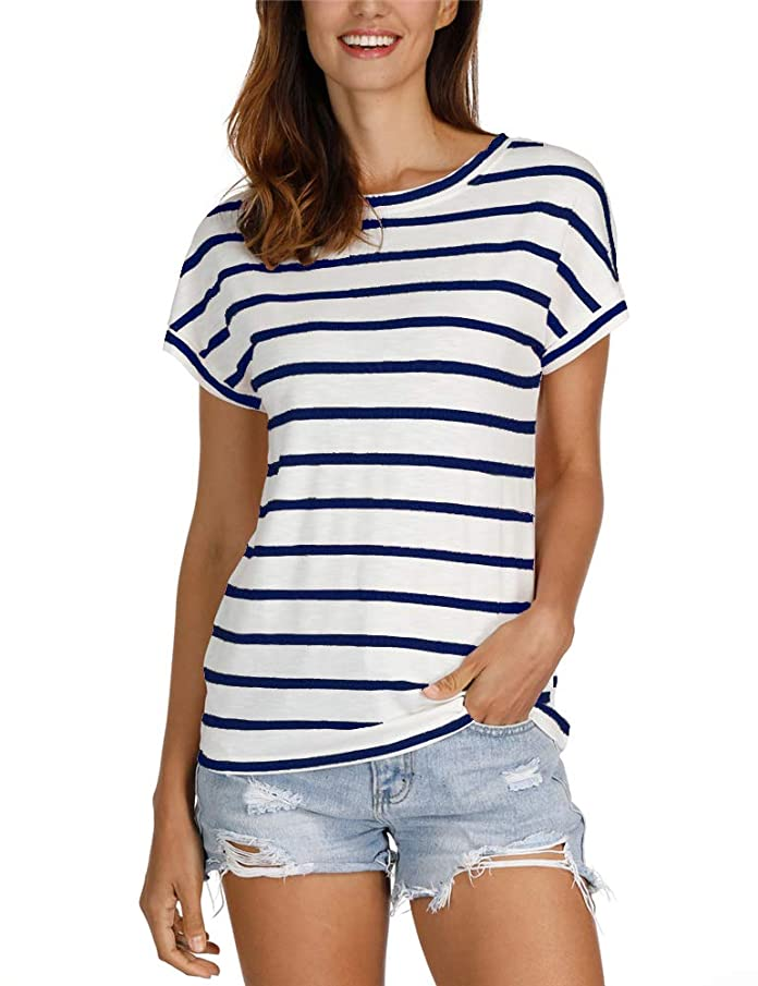 Women's Striped Short Sleeve Tees Loose Fit Casual Crew Neck Shirt Tops