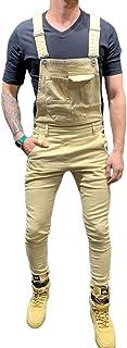 Men's Denim Bib Overalls Fashion Workwear Slim Fit Dungaree Jeans Jumpsuit with Pockets