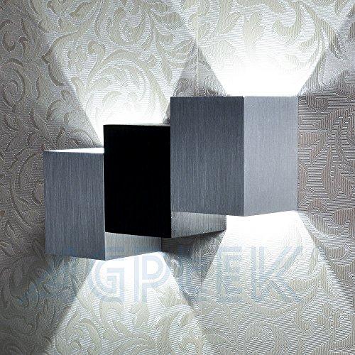 AGPtek 6W Luce a muro moderno, lampada interna Up Down notte parete Luce per corridoio, scala, soggiorno, sala da pranzo, camera da letto, ecc, (bianco puro, cubica a corpo)