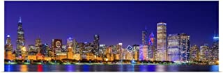 GREATBIGCANVAS Poster Print Chicago Skyline with Cubs World Series Lights Night by 60