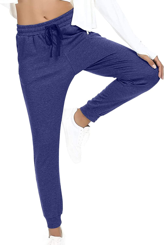 Jumaocio Women Sports Pants Solid Color Straight Elastic Waist Trousers (Purple-2, M)