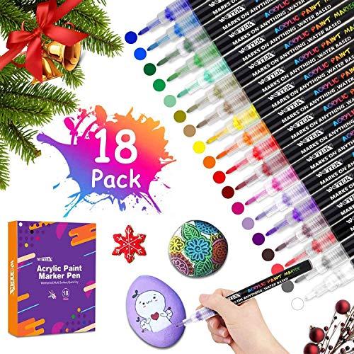 NOWKIN Rotuladores de Pintura Acrílica 18 Colores 0.7mm