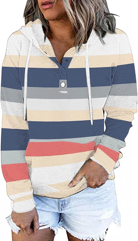 Womens Hoodies,Women Hoodies Pullover Plus Size Aesthetic Trendy with Pockets Graphic Stripe Sweatshirt Coat