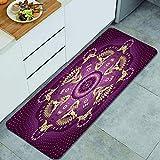 Anti Fatiga Cocina Alfombra del Piso,Mandala púrpura, adorno floral árabe étnico retro artístico del Medio Oriente iraní,Antideslizante Acolchado Puerta Habitación Alfombra Almohadilla,120 x 45cm