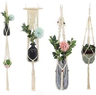 Macrame Plant Hangers Set of 4 Indoor Wall Hanging Planter Basket Flower Pot Holder Boho Home Decor Gift Box