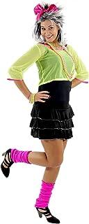 Foxxeo Sexy 80er 90er Jahre Neon Party Kostüm für Damen mit Kleid und Netz Shirt Größe L