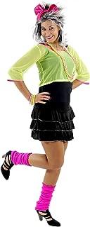 Foxxeo Sexy 80er 90er Jahre Neon Party Kostüm für Damen mit Kleid und Netz Shirt Größe M