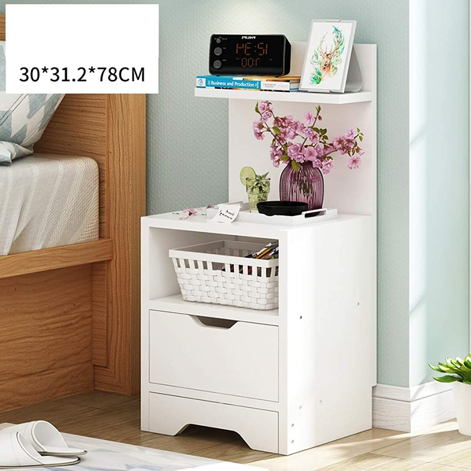 ZHIRONG Bedside Table Side Table Storage Cabinet Lockers Telephone Table Bookshelf Be Applicable Bedroom Living Room (color   White)