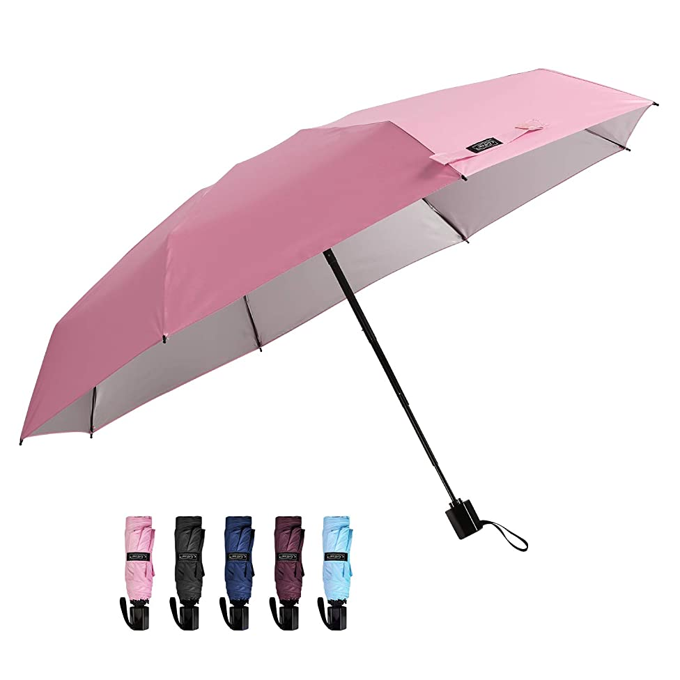 G4Free Mini Compact Travel Umbrella UV Protection Sun & Rain Collapsible Umbrella Lightweight Folding Umbrella for Men Women